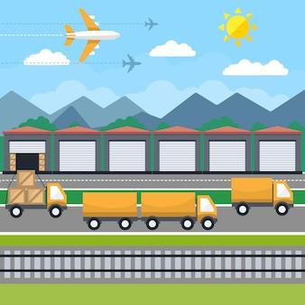 Illustrazione di concetto piatto creativo di vettore di logistica, trasporto di consegna, aerei, treni merci, per poster e striscioni