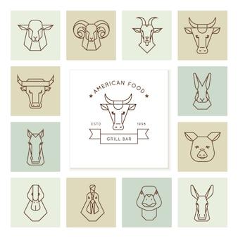 Logo del cibo americano, grande set di teste di animali da fattoria