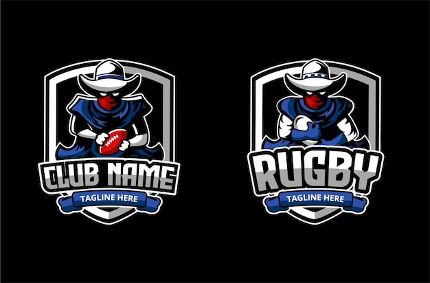 Logo per club o accademia di football americano e rubgy con mascotte del personaggio di cowboy