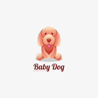 Logo baby dog gradient colorful style.