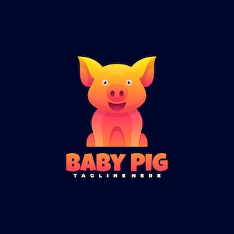 Logo baby pig gradient colorful style