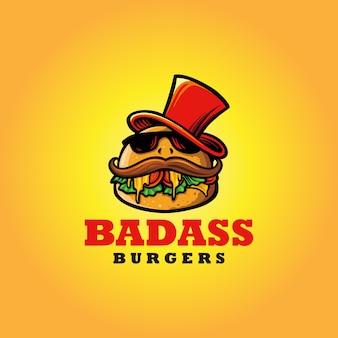 Mascotte degli alimenti a rapida preparazione dell'hamburger di logo badass