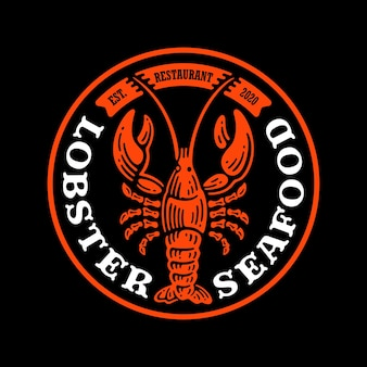 Distintivo con logo di aragosta frutti di mare in doodle vintage