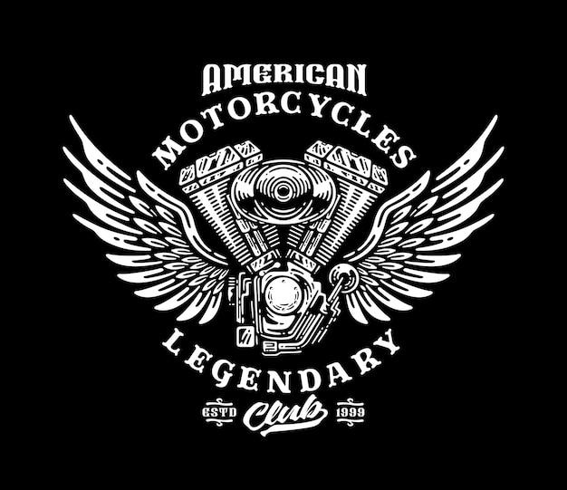Distintivo del logo del motore del motociclo con le ali nel design vintage.