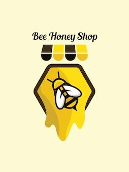 Modello di negozio di miele di ape logo
