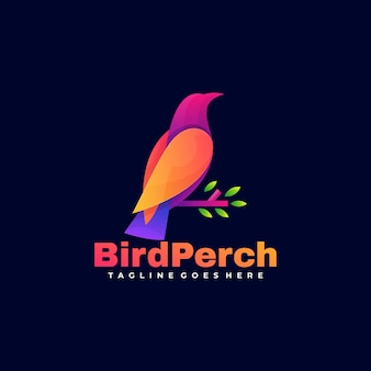 Logo bird perch gradient colorful style.