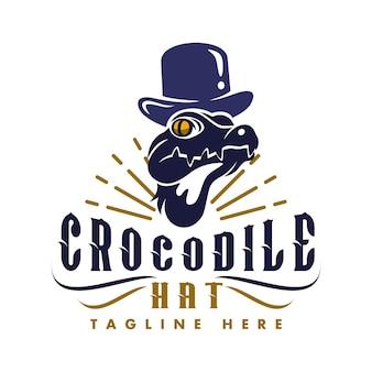 Logo blue crocodile hat adatto a tutti i settori dell'intrattenimento e dei media