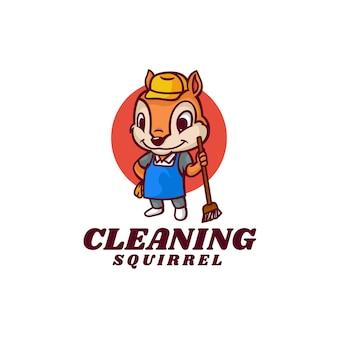 Logo pulizia scoiattolo mascotte stile cartone animato