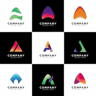 Una collezione di logo, loghi di lettera maiuscola a società gradiente