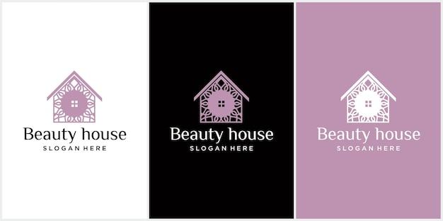 Logo combinazione di fiori e case design del logo della casa della natura bellissimo design del logo della casa del fiore