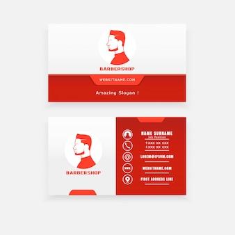 Concetto di logo, taglio di capelli maschile biglietti da visita