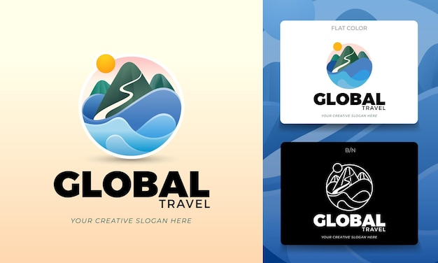 Concetto di logo per agenzie turistiche o ambientalismo in vettoriale