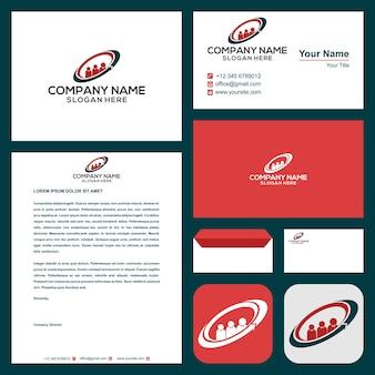 Logo aziendale o relazioni biglietto da visita vettore premium