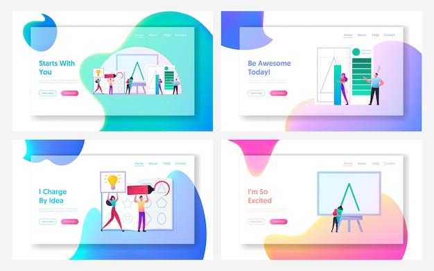 Set di modelli di pagina di destinazione per la creazione del logo.