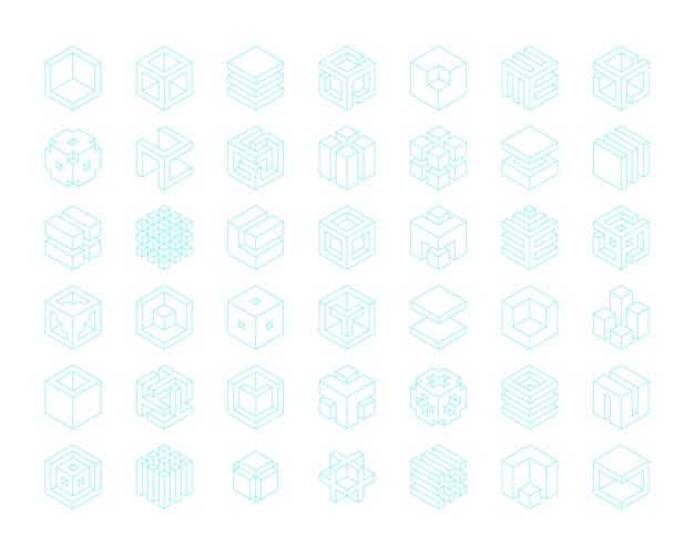 Insieme di modelli di cubi logo