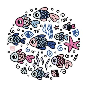Logo di simpatici pesci colorati. illustrazione disegnata a mano di vettore nella forma del cerchio