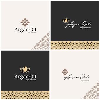 Logo design in semi di olio di argan, foglia, forma di fiore per bellezza, cosmetici, cura della pelle, marchio di olio in stile lineare alla moda