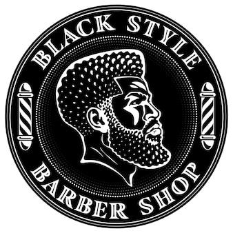 Design del logo di un barbiere con la testa dell'uomo barbuto nero con un taglio di capelli affusolato