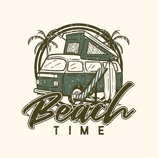 Logo design tempo in spiaggia sulla spiaggia con illustrazione dell'annata di elementi di spiaggia