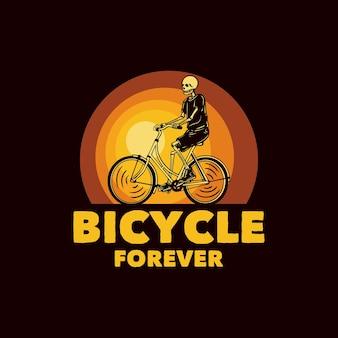 Logo design bicicletta per sempre con illustrazione dell'annata di bicicletta di guida dello scheletro