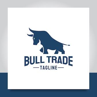 Logo design bull icona simbolo per il trading analitico contabile