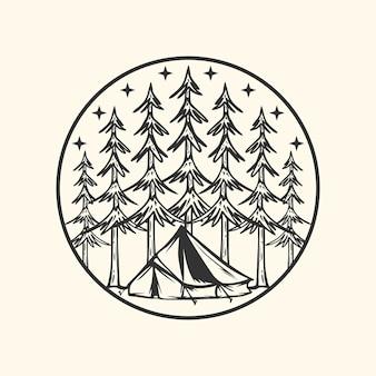 Logo design campeggio nell'illustrazione dell'annata della natura