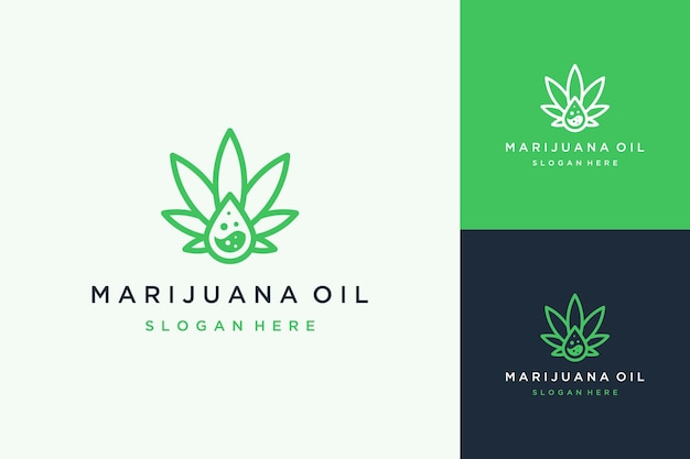Logo design estratto di cannabis o foglia di cannabis con gocce di olio liquido