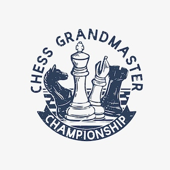 Campione di gran maestro di scacchi di progettazione di logo con l'illustrazione dell'annata di scacchi