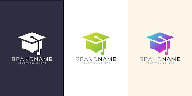 Progettazione del logo dell'istruzione con il concetto di tecnologia.