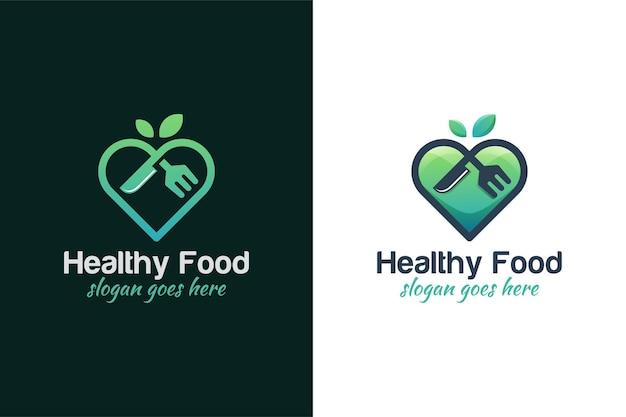 Design del logo del cibo preferito o dell'amore, cibo delle verdure dell'amore con due versioni