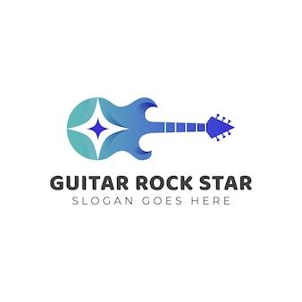 Design del logo della rock star del festival per lo spettacolo dal vivo, design del logo della canzone della chitarra acustica dello studio musicale della band