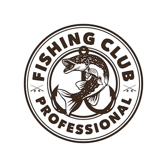 Logo design club di pesca professionale in bianco e nero con illustrazione d'epoca di pesce luccio