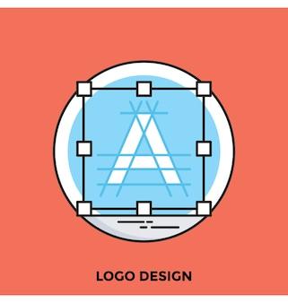 Icona di vettore di logo design piatto