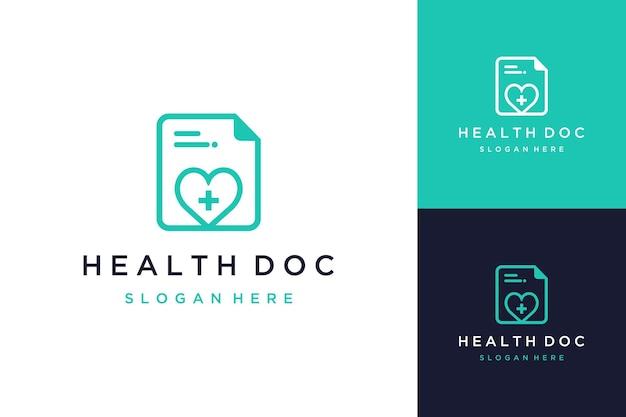 Logo design documenti sanitari o documenti con un cuore e un segno più
