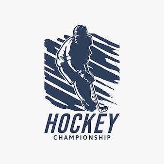 Campionato di hockey di progettazione di logo con l'illustrazione dell'annata del giocatore di hockey