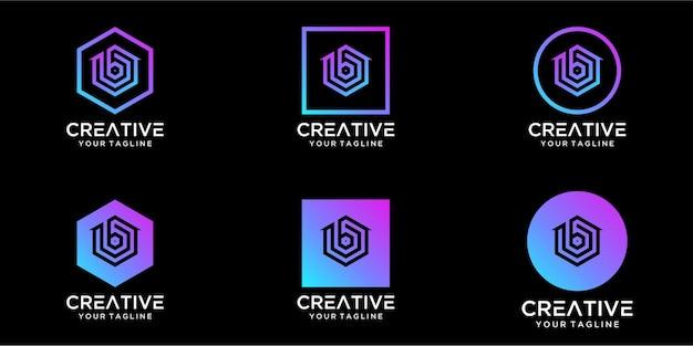 Home design del logo combinato con il design del modello di lettera b