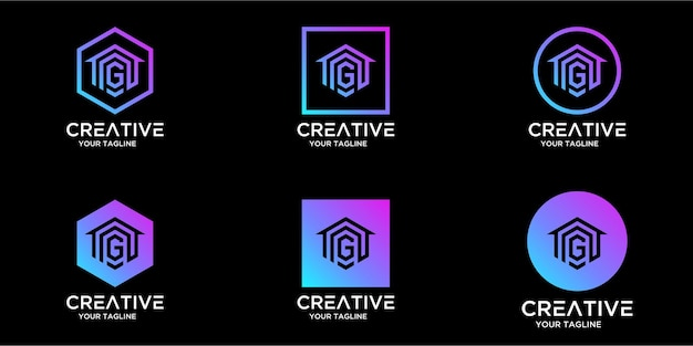 Logo design home combinato con il design del modello di lettera g