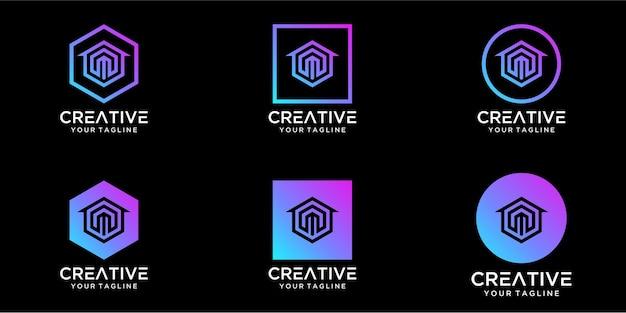 Logo design home combinato con il modello di design della lettera m Vettore Premium