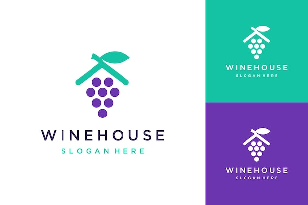 Logo design del vino della casa o cantina o vino con tetto e foglie della casa house