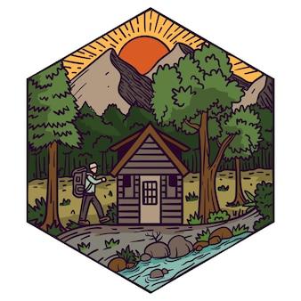 Immagini di ispirazione per il design del logo per viaggi e hotel con uno stile di illustrazione colorato