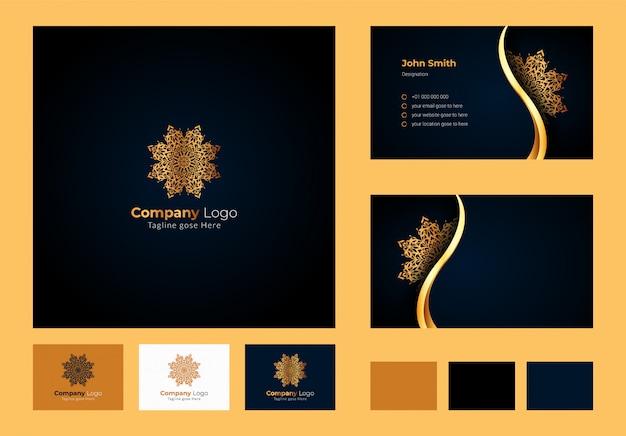 Logo design inspiration, mandala floreale circolare di lusso ed elemento a foglia, biglietto da visita di lusso con logo ornamentale Vettore Premium