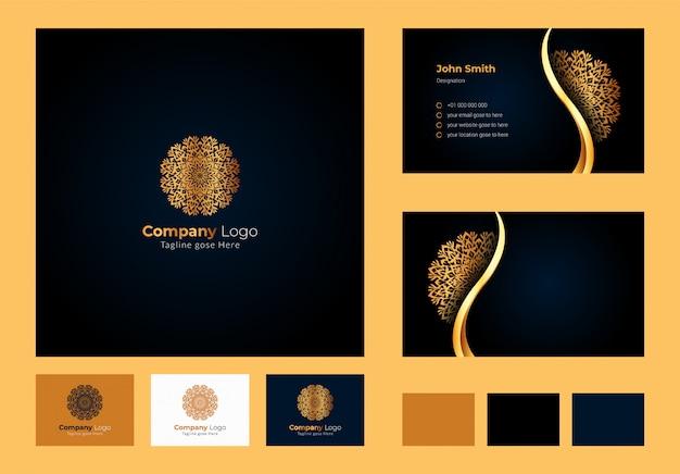 Logo design inspiration, mandala floreale circolare di lusso ed elemento a foglia, biglietto da visita di lusso con logo ornamentale