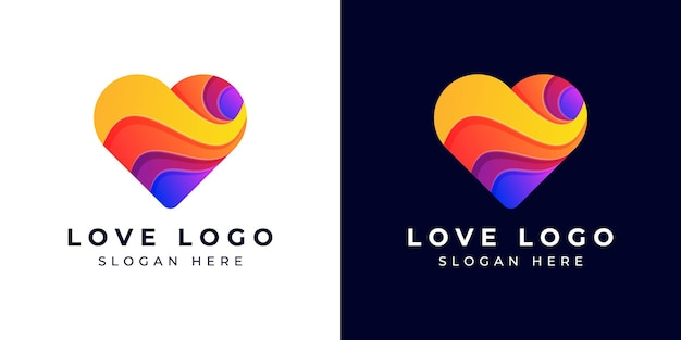 Logo design modern love o cuore colorato o sfumato