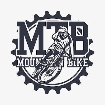 Logo design mtb mountain bike con uomo in sella a mountain bike illustrazione vintage