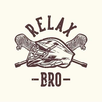 Logo design relax bro con elmo da lacrosse e illustrazione vintage del bastone