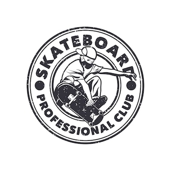 Club professionale di skateboard logo design con uomo che gioca illustrazione vintage bianco e nero di skateboard