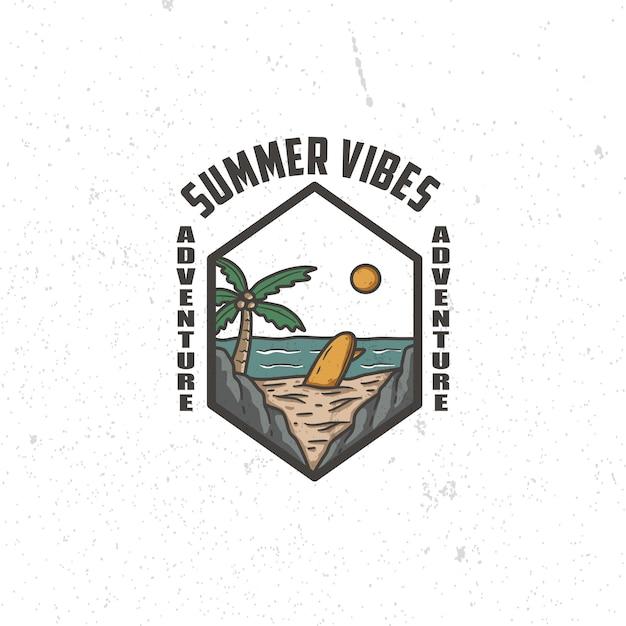Logo design estate lunga spiaggia