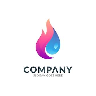 Modello di progettazione del logo della combinazione di fuoco con goccia d'acqua