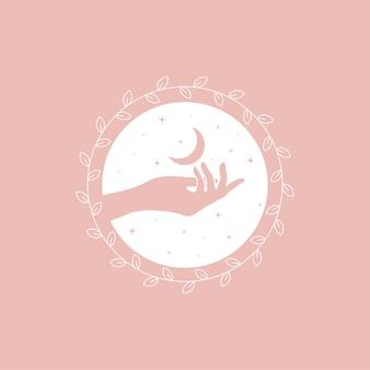 Modello di progettazione di logo in stile minimal lineare alla moda - mani, luna e stelle.