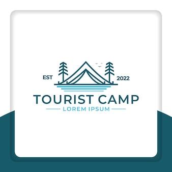Logo design tenda linea con pino accanto per il campeggio illustrazione vettoriale